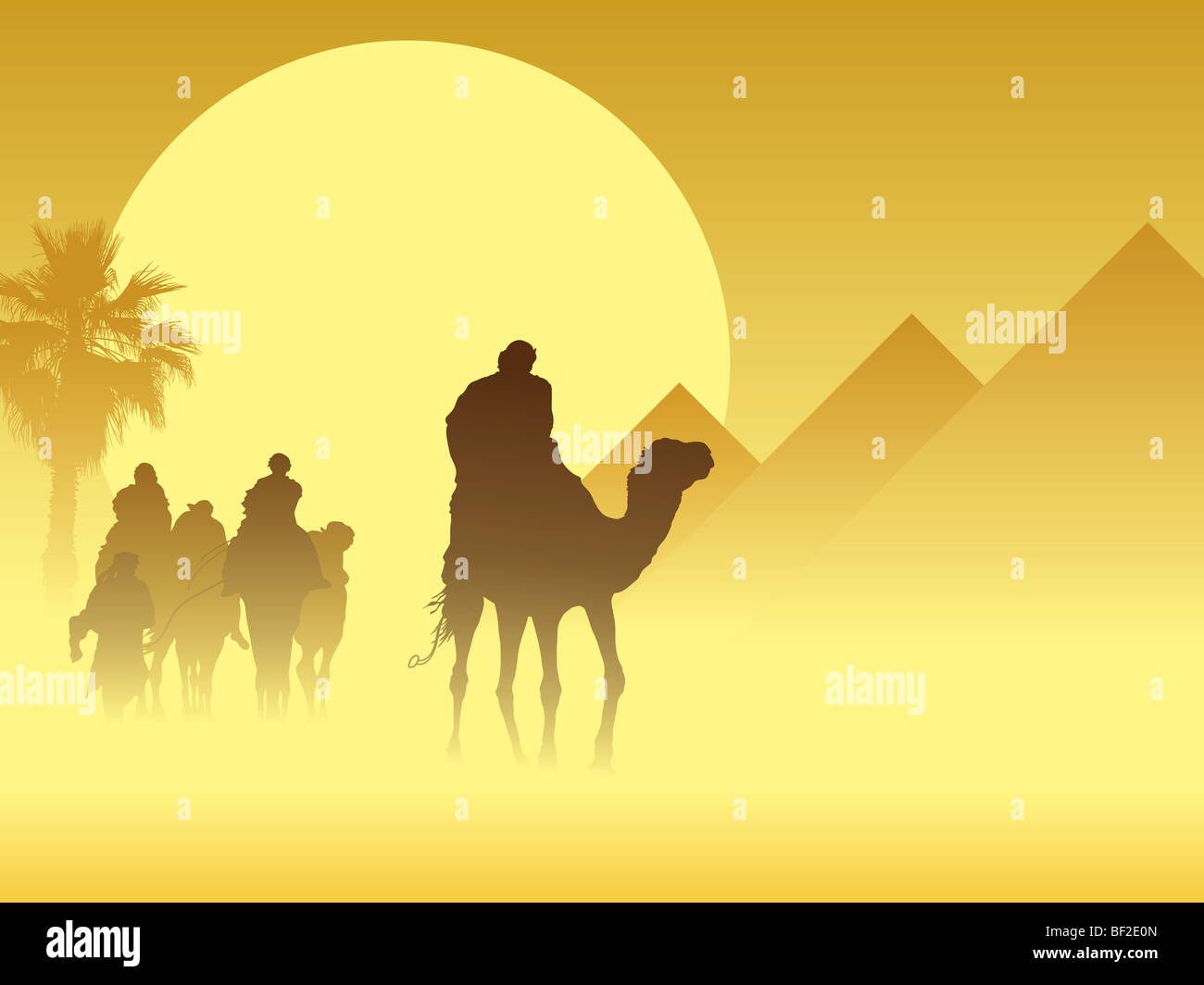 Camel caravan going through the sandstorm near pyramids - Stock Image