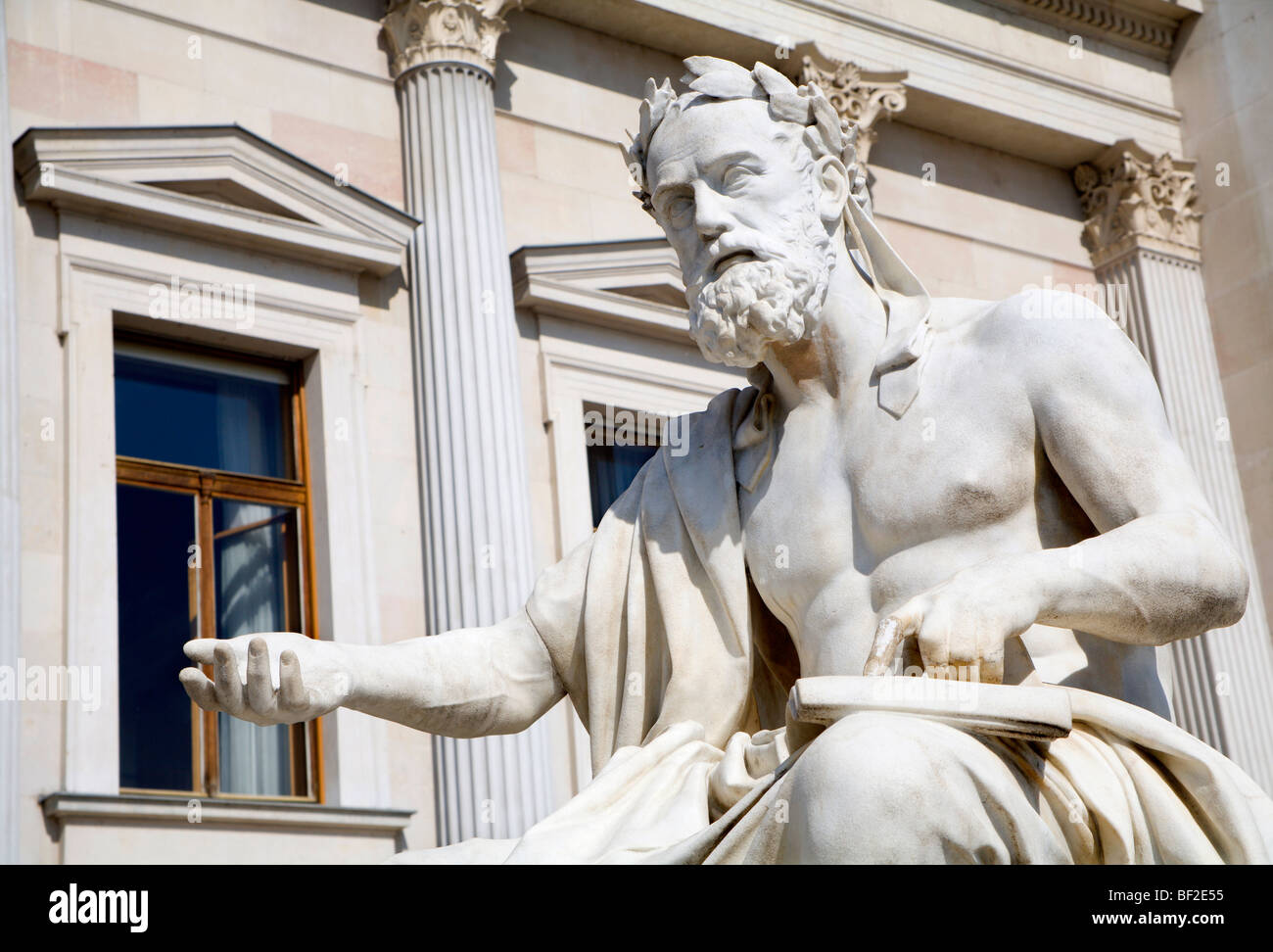 Vienna - philosopher statue for the Parliament - Xenophanes - Stock Image