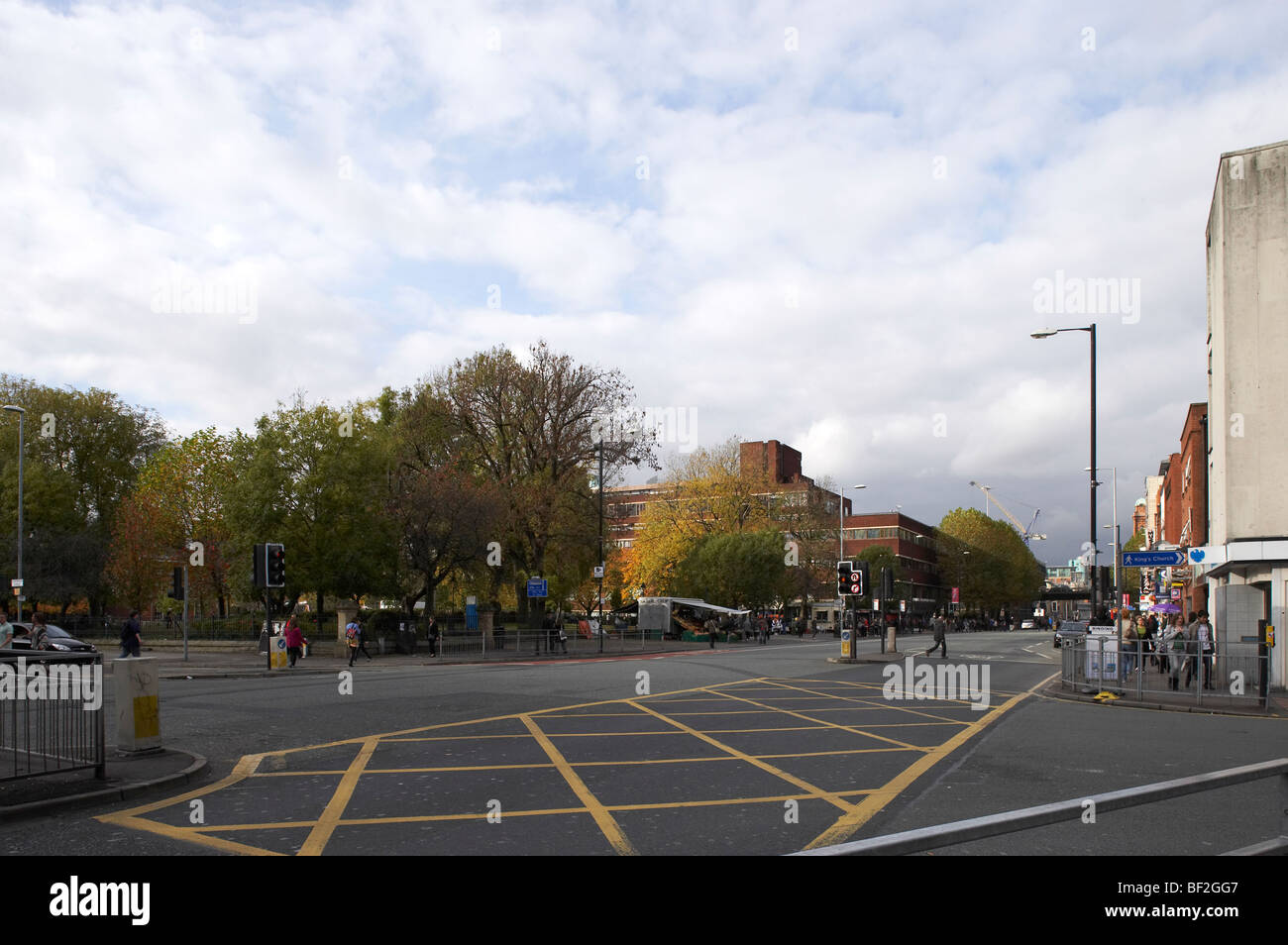 View from Oxford Road towards Manchester city centre - Stock Image
