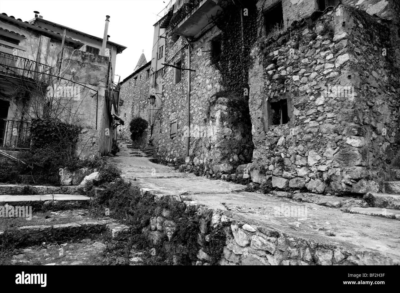 Gorbio, Alpes-Maritimes path way between old buildings Stock Photo
