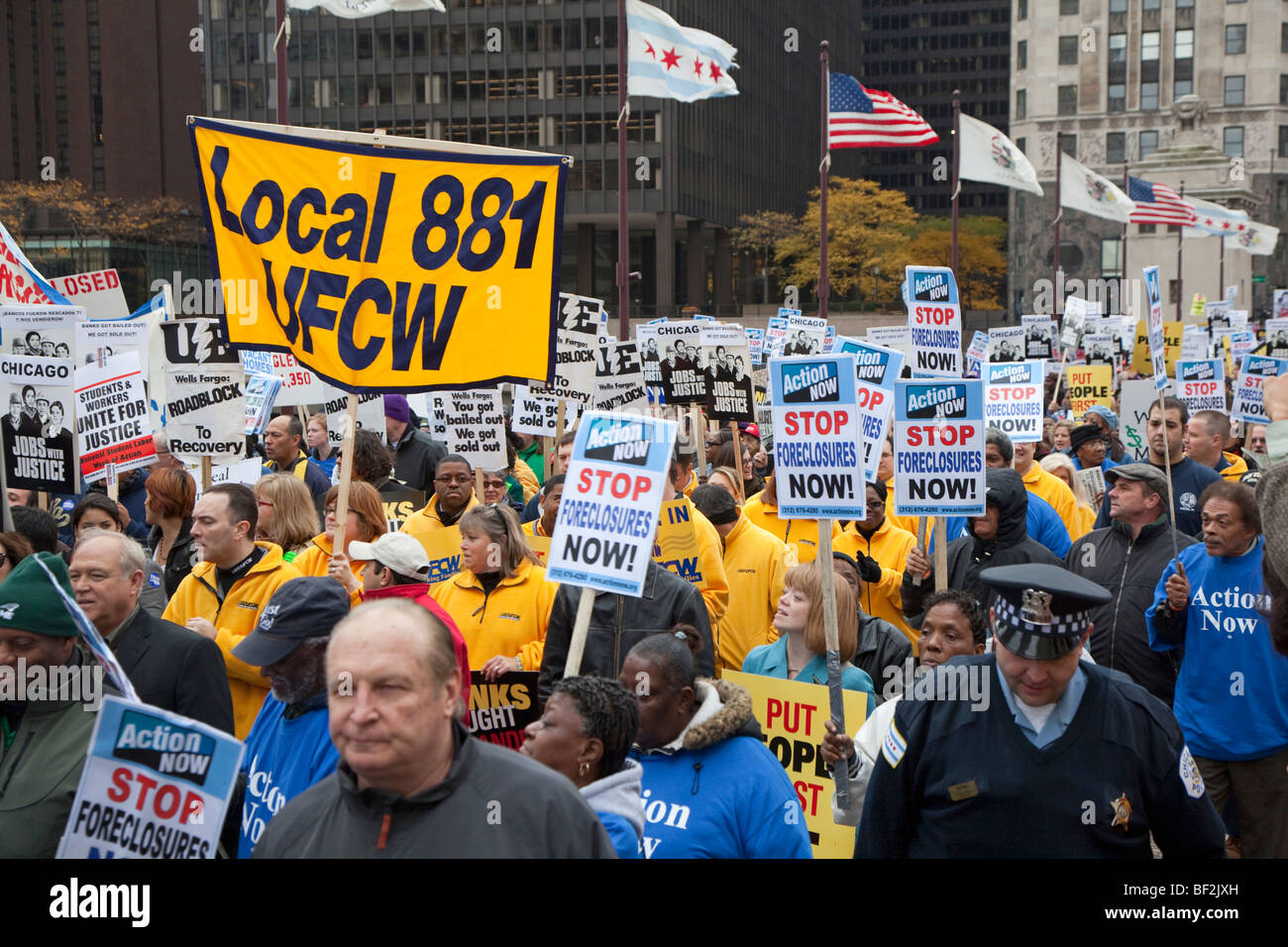 Labor-Community Rally Against Big Banks - Stock Image
