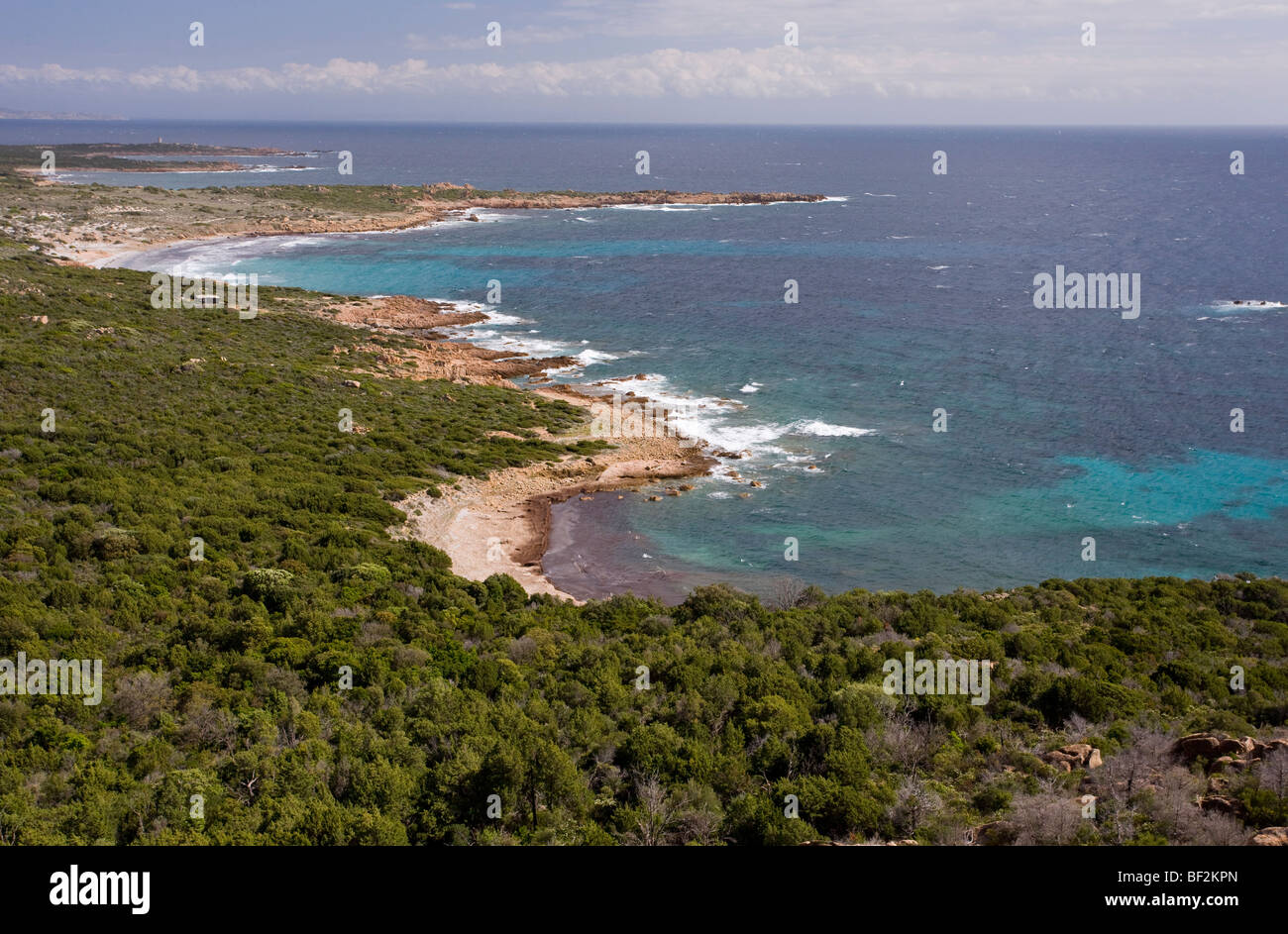 The wild exposed unspoilt granite south-west coast of Corsica, France. - Stock Image