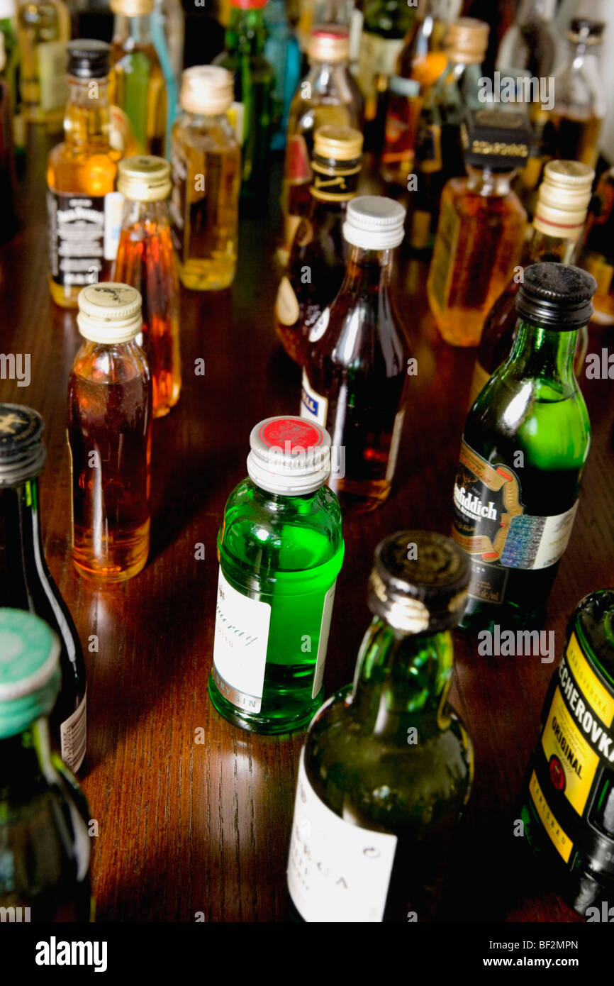Varieties of alcoholic bottles - Stock Image