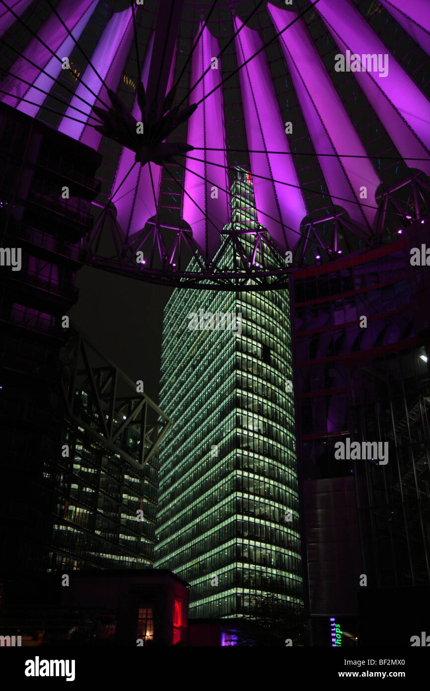 Roof of the Sony Center and the Deutsche Bahn tower, Potsdamer Platz square, Berlin, Germany, Europe - Stock Image