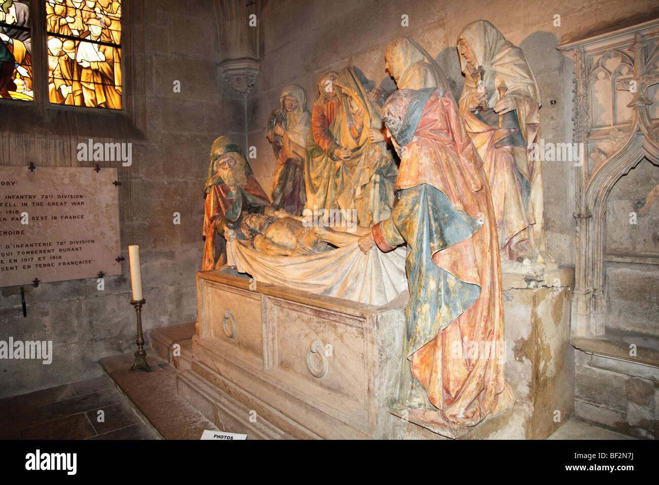 France, Semur en Auxois -Notre Dame in Semur-en-Auxois, Christ is laid in the tomb -Mise au Tombeau Stock Photo
