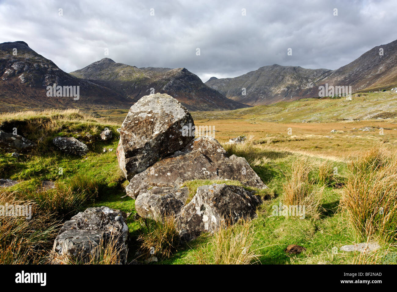 The Twelve Bens mountain range. Connemara. Co Galway. Ireland 2009. Stock Photo