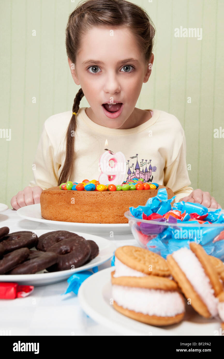 Wondrous Tween Girl And Birthday Cake Stock Photos Tween Girl And Personalised Birthday Cards Vishlily Jamesorg