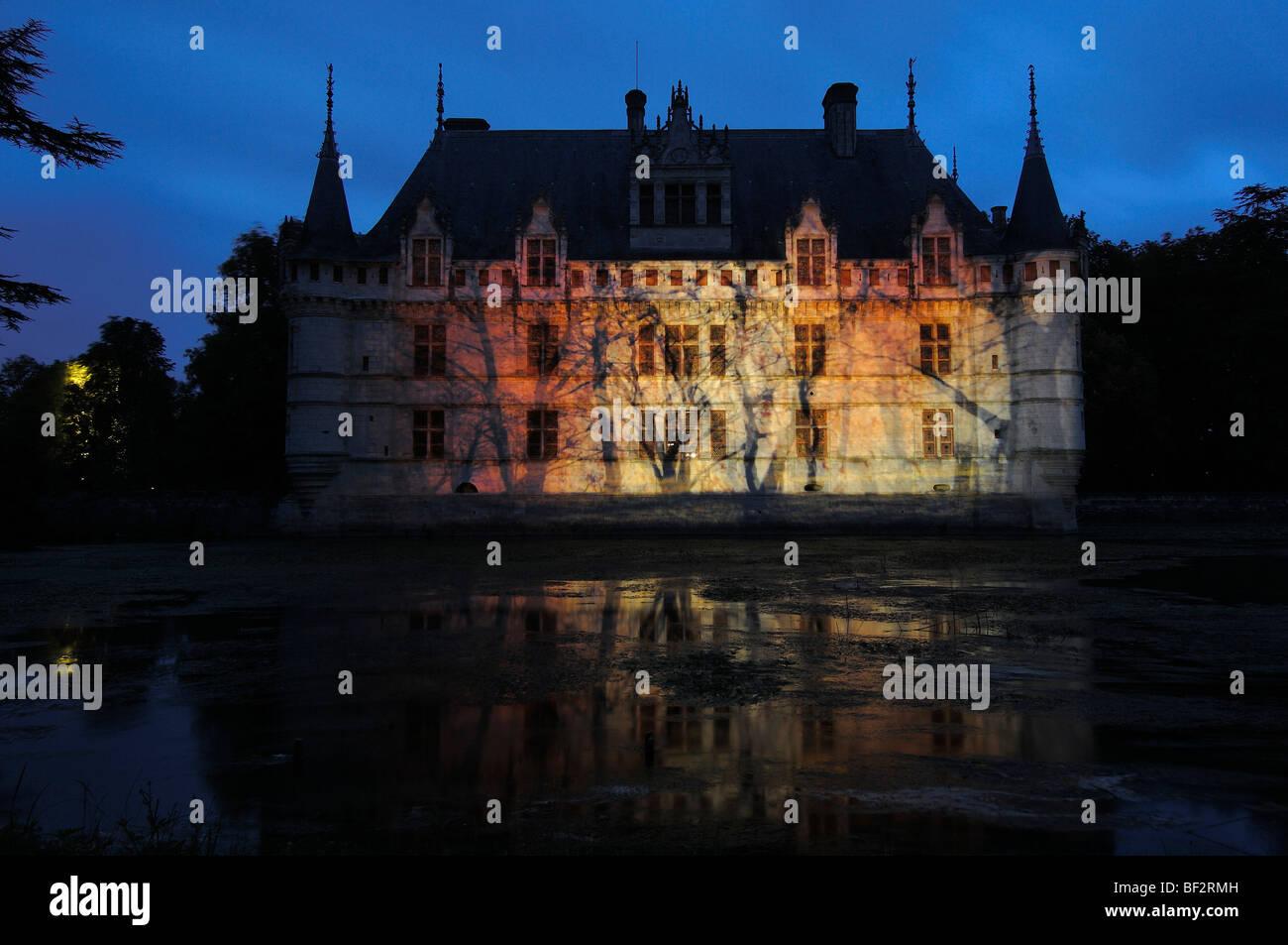 Azay Le Rideau Chateau Son Et Lumiere Show At Castle Of Stock