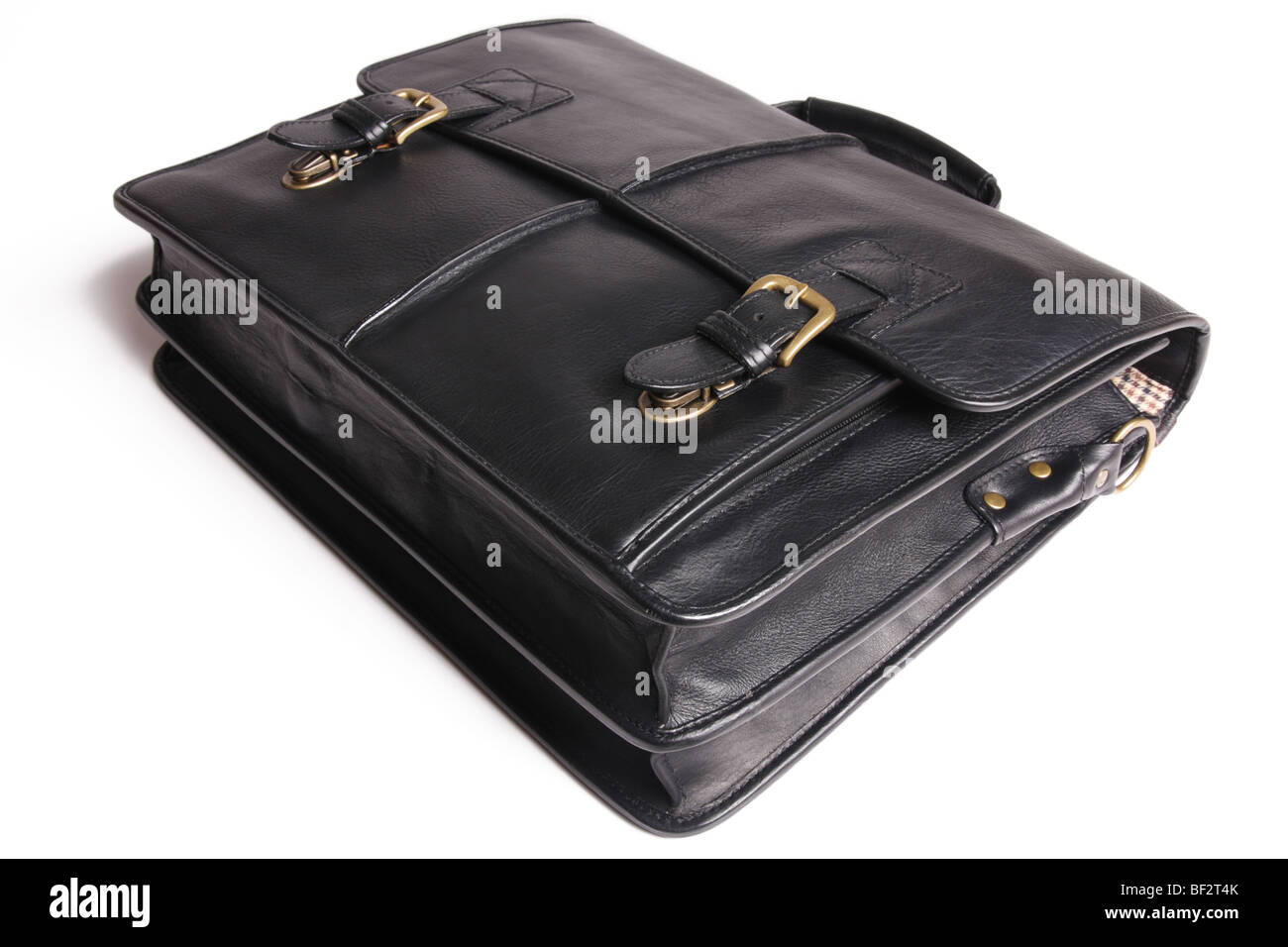 Brown briefcase isolated on a white background. - Stock Image