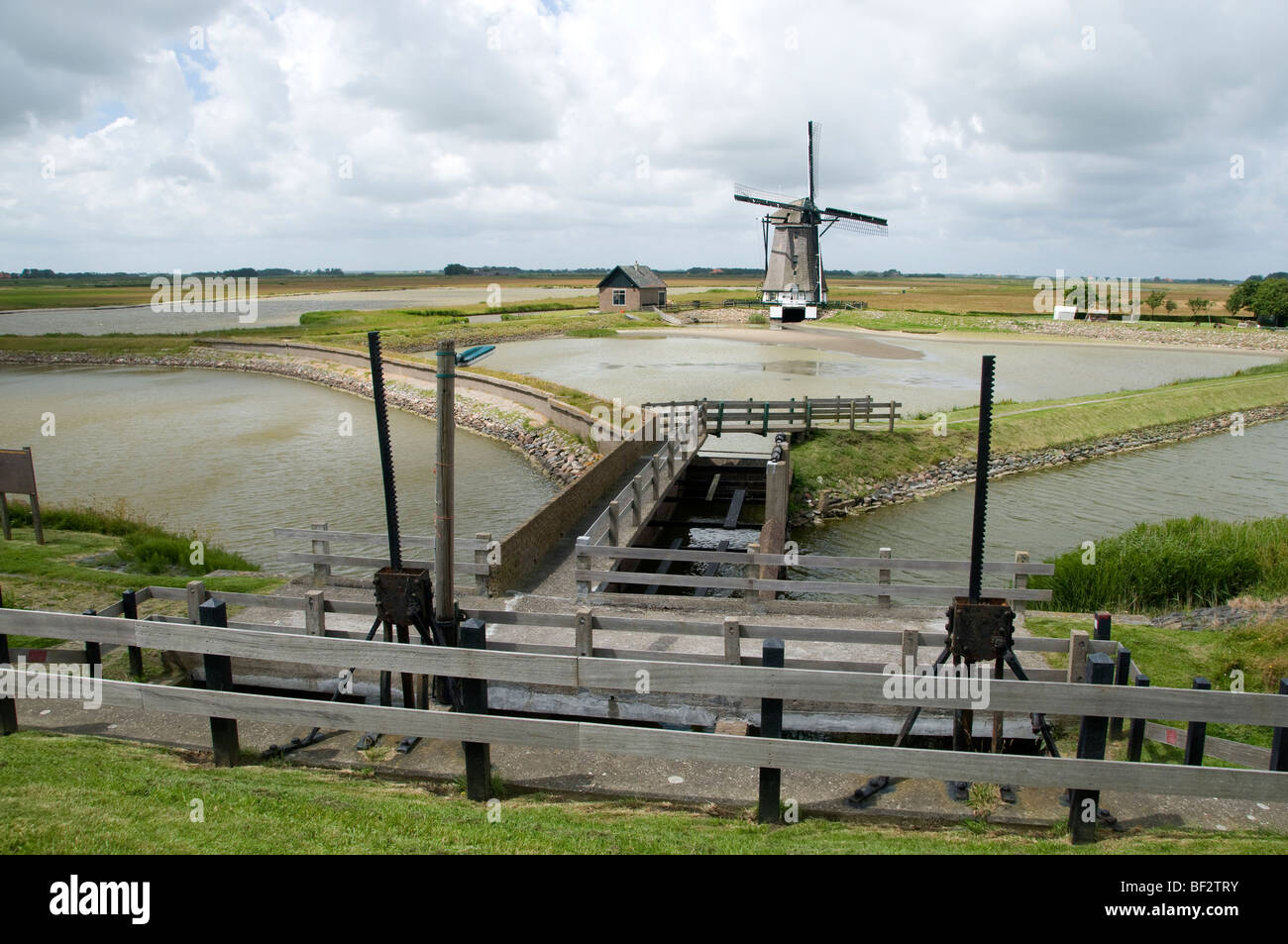 Texel Windmill the Bol pumping water polder Wadden Sea Netherlands - Stock Image