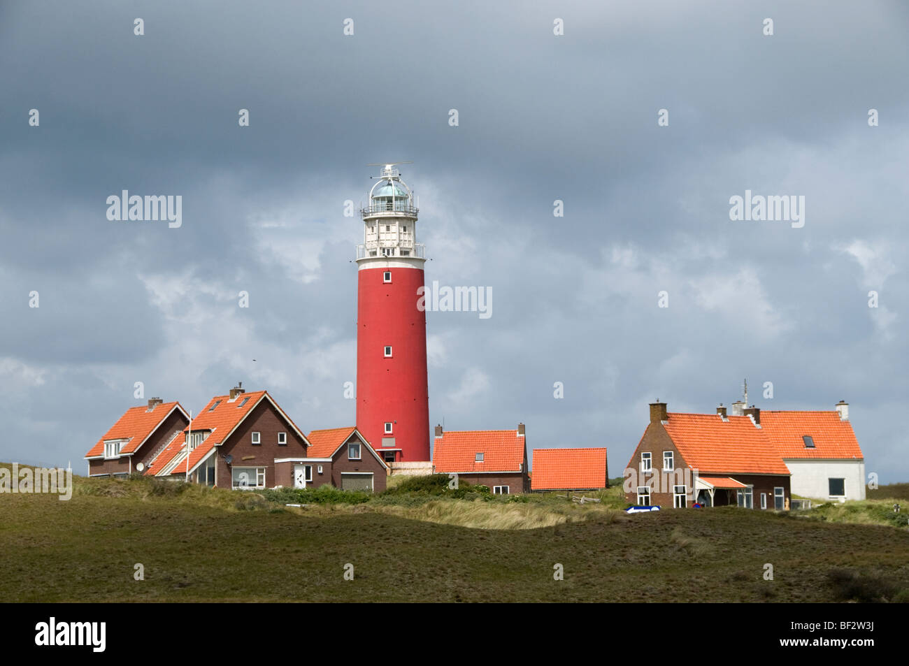 Netherlands Texel Historical Historic Monument Front Texel Noord Holland Lighthouse Eierlandse duinen entrance Wadden - Stock Image
