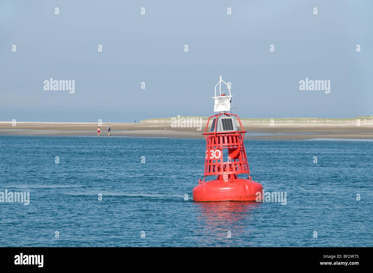 Vlıeland Terschellıng Texel Fishing Netherlands Red Buoy - Stock Image