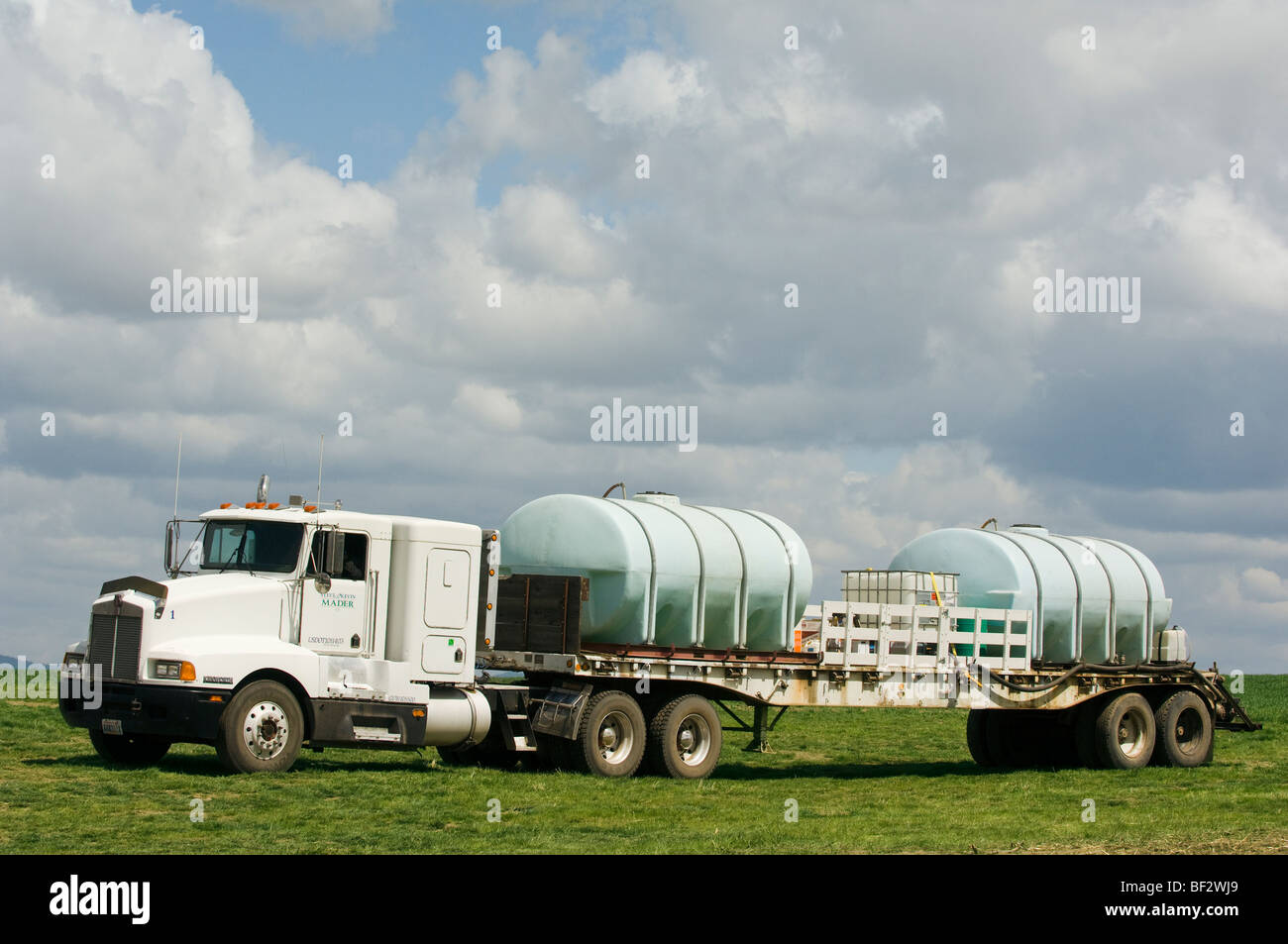 Truck loaded with chemicals to support spraying wheat fields for weeds / near Pullman, Palouse Region, Washington, - Stock Image