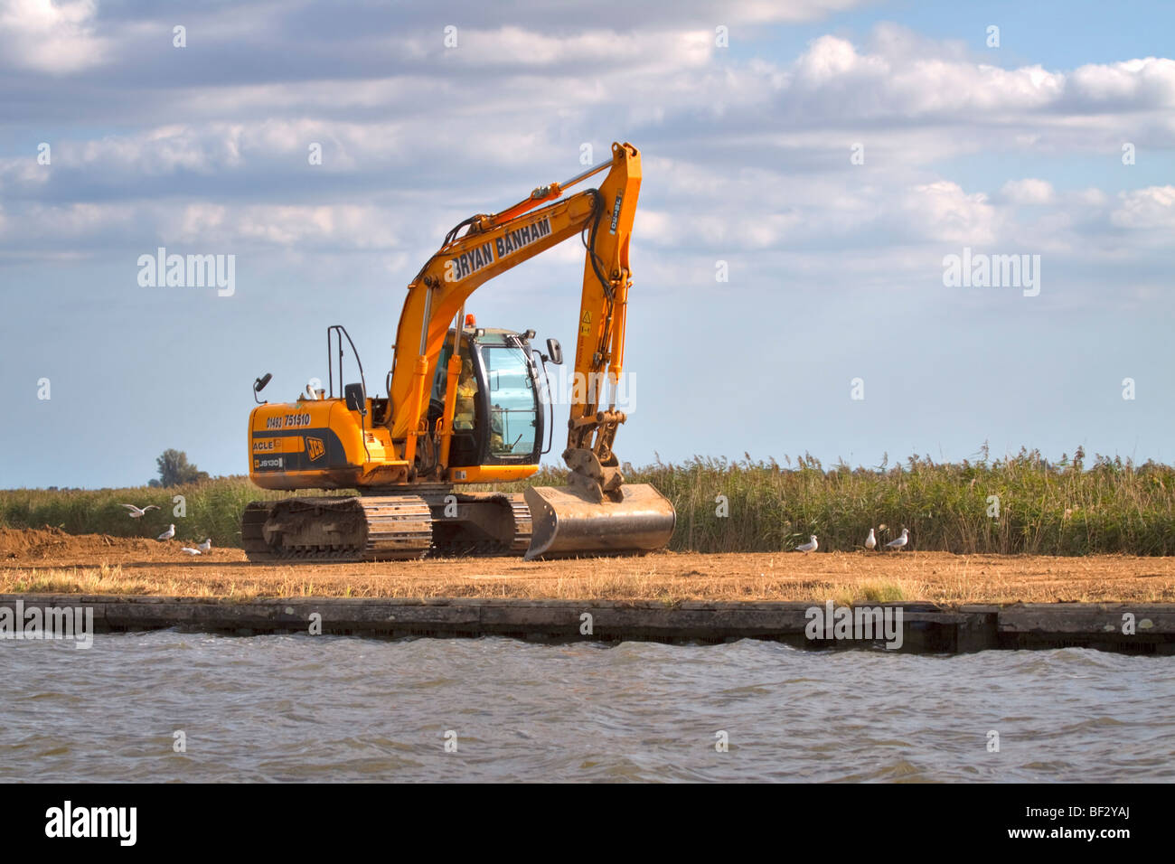 A JCB on the banks of the River Bure in Norfolk - Stock Image
