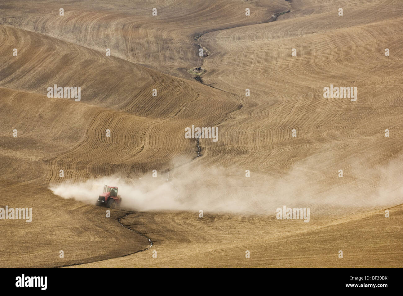 A John Deere tractor and air seeder planting garbanzo beans (chick peas) in the rolling hills of the Palouse / Washington, - Stock Image