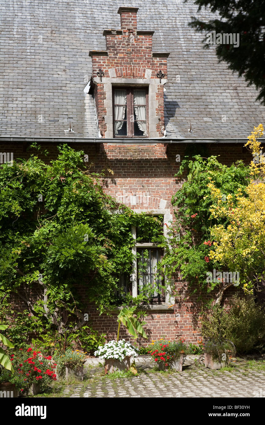 Farmhouse covered with plants National Botanic Gardens Nationale Plantentuin Meise Brussels Belgium - Stock Image