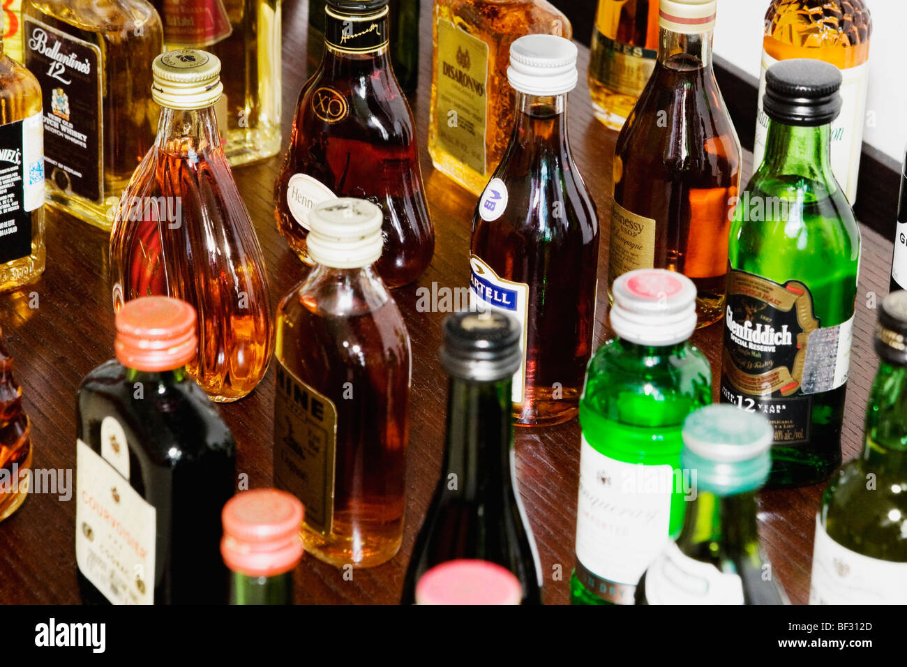 Varieties of alcoholic bottles - Stock Image