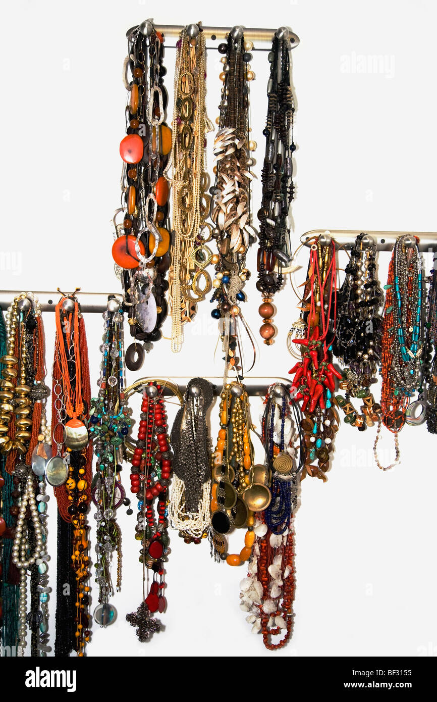 Close-up of necklaces - Stock Image