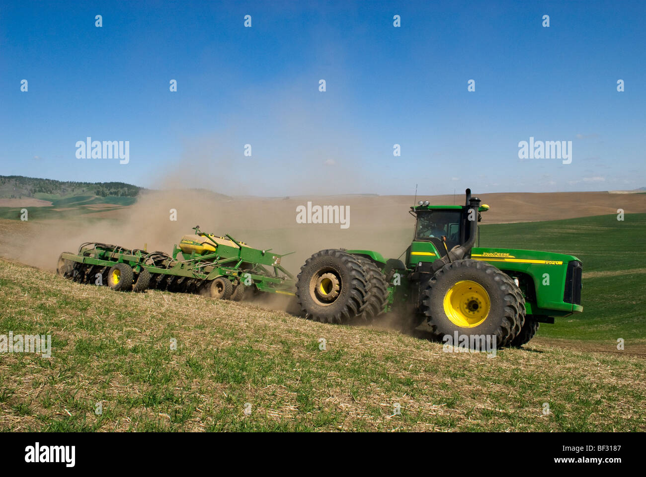 A tractor and air seeder replant areas of winter wheat damaged by lingering snow packs in the rolling hills of the - Stock Image