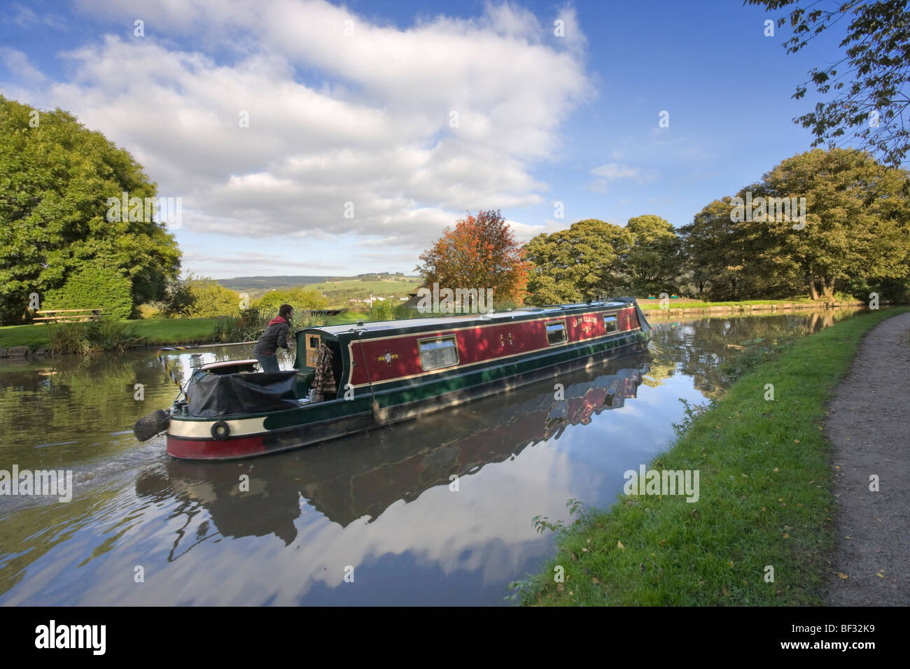 Canal Boating on the Peak Forest Canal, Marple - Stock Image
