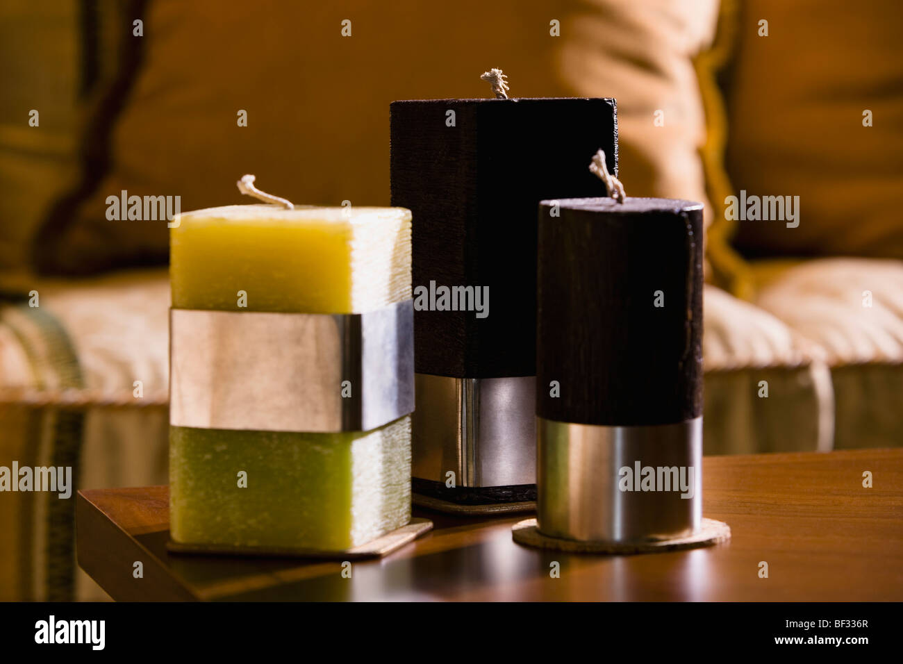 Close-up of candles on a table - Stock Image