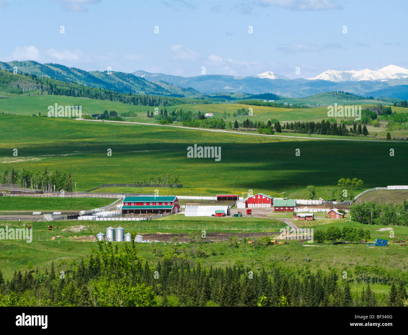 Ranch buildings including barns, corrals & out buildings in the foothills along the Rocky Mountain Front Range - Stock Image