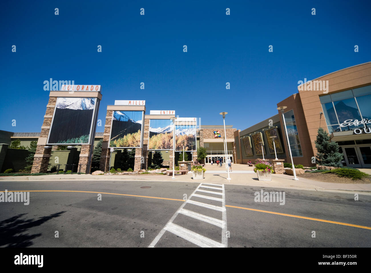 American Colorado Mills Outlet Shopping Mall entrance, entry, 4, Four in Denver Colorado USA CO US. Visitors shopping - Stock Image