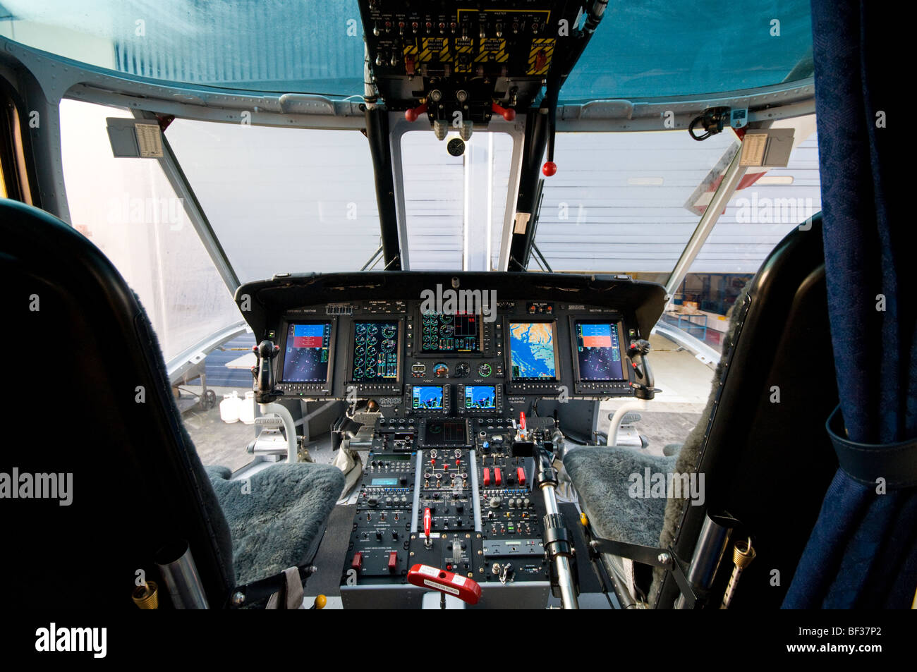 helicopter aircraft cockpit - Stock Image