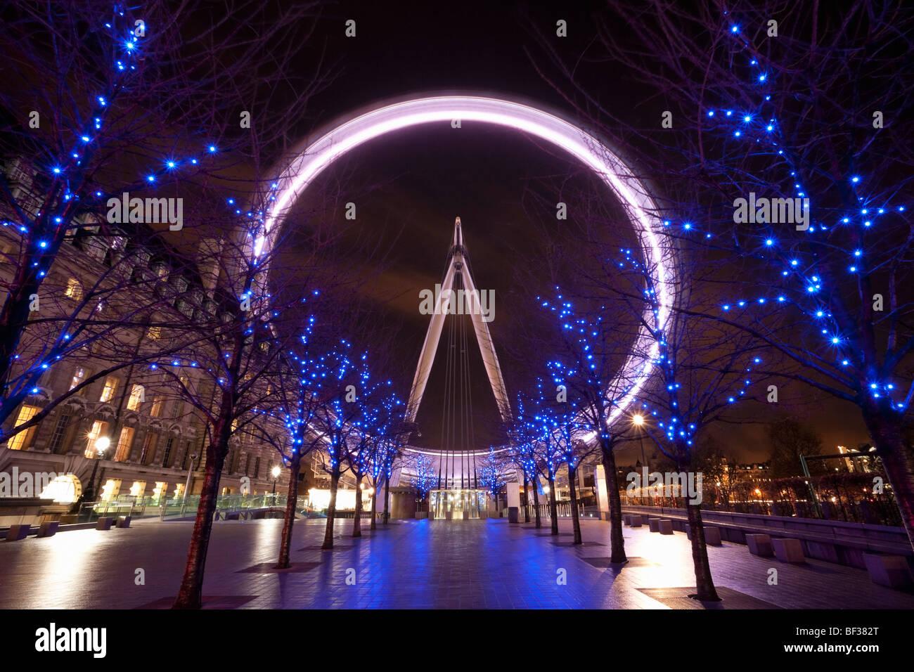 London Eye at night - Stock Image
