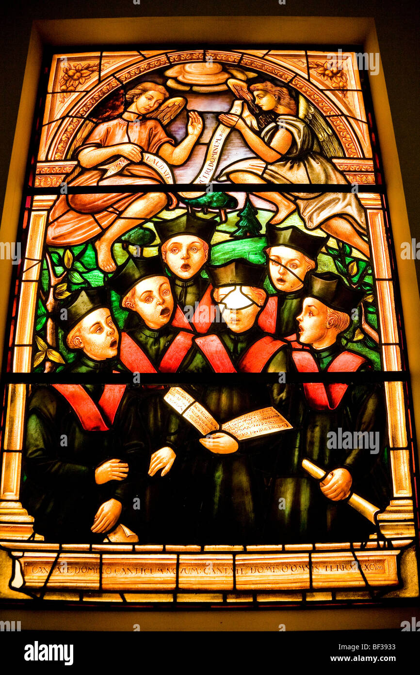 Spain, Toledo, Cathedral, stained glass window with choir boys, close up Stock Photo