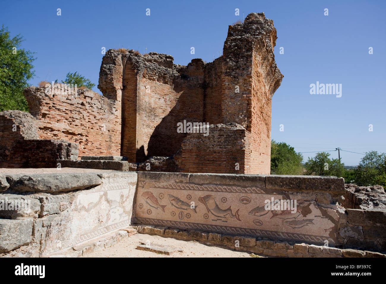 Portugal, Milreu, fragments of the Fish mosaic - Stock Image