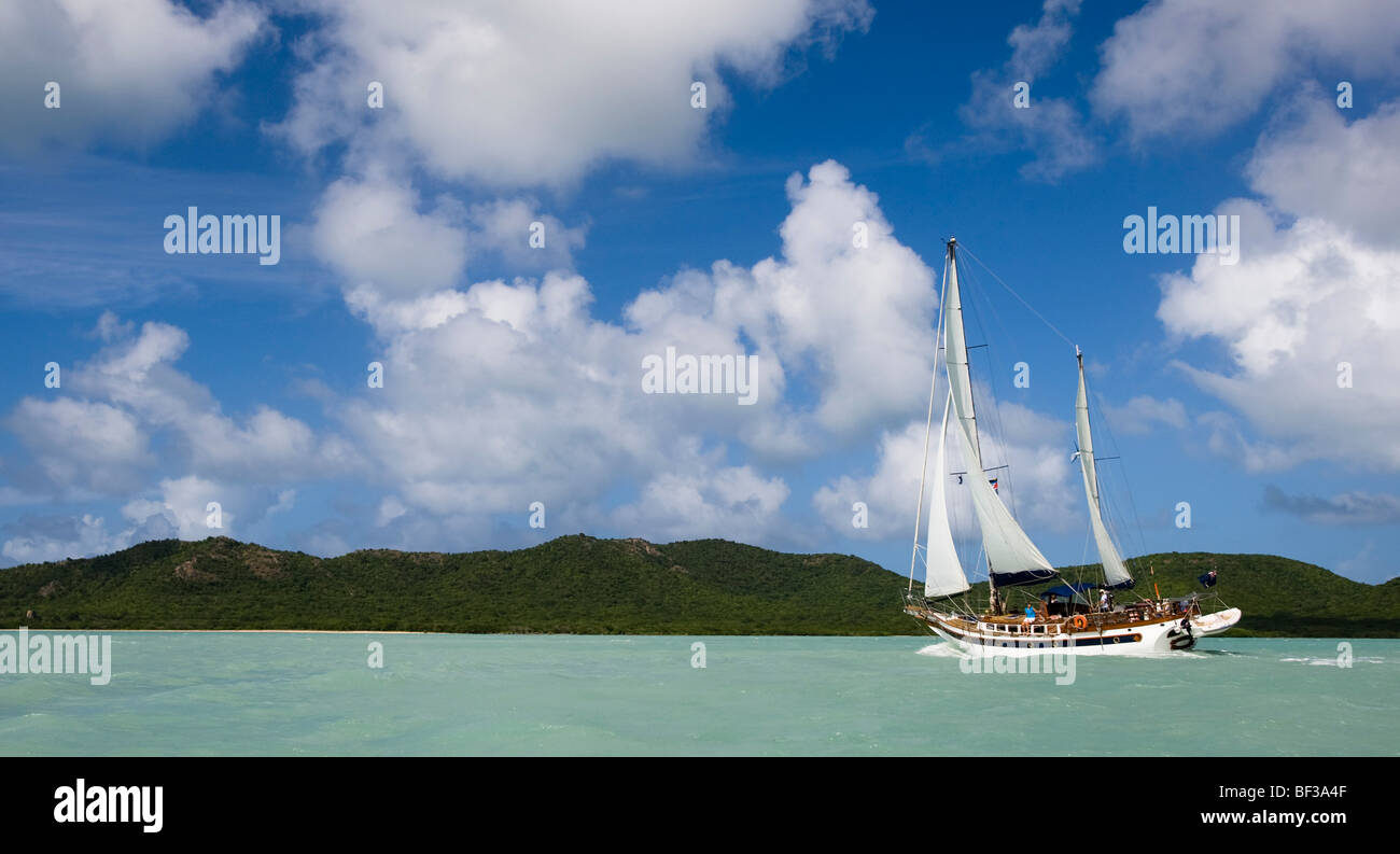 Cruising Yacht under sail,Antigua - Stock Image