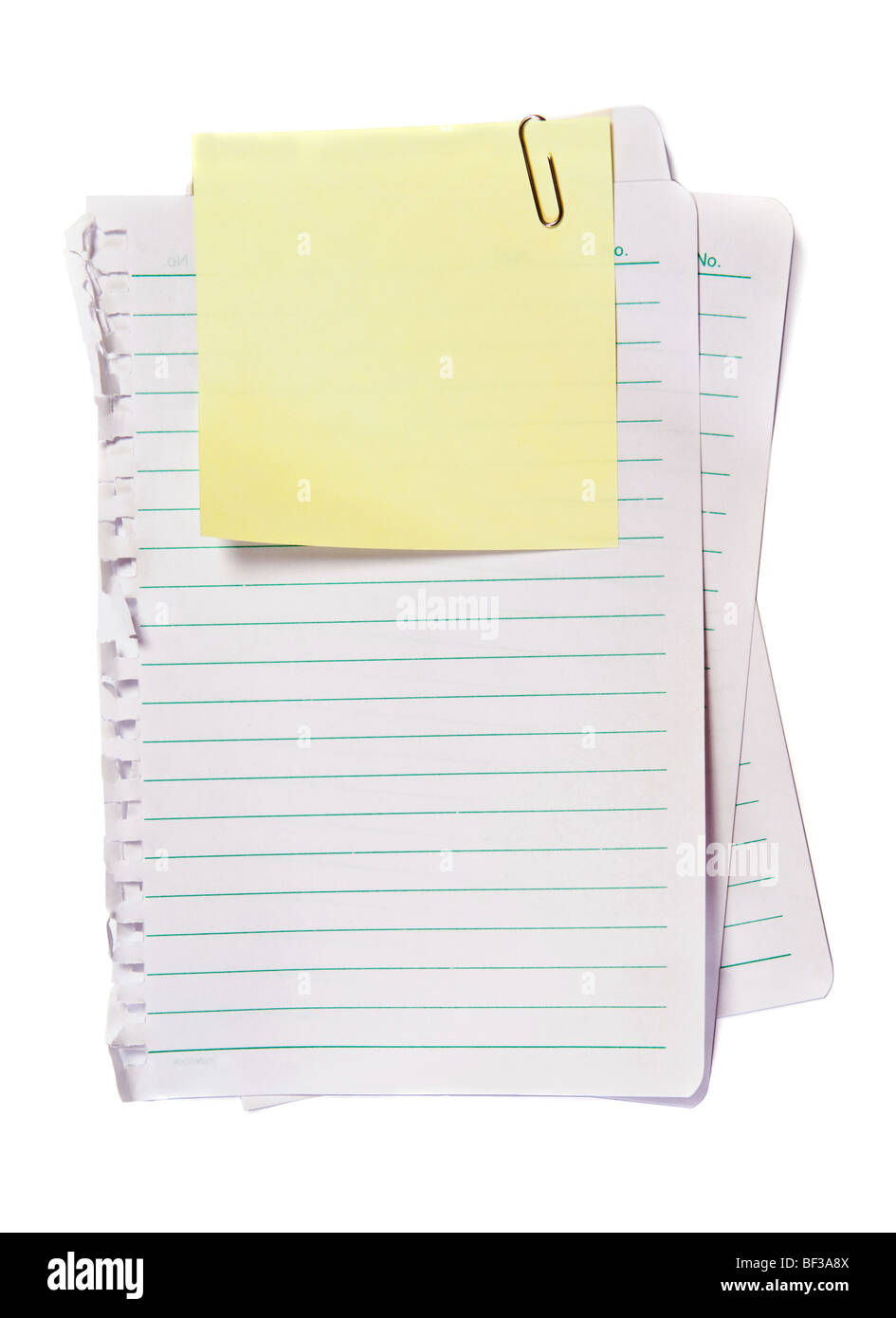 Yellow Memo with paper clip, write note on it - Stock Image
