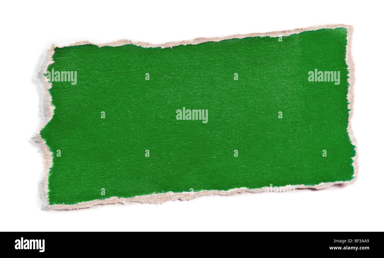 Piece of color paper for memo isolated on white - Stock Image