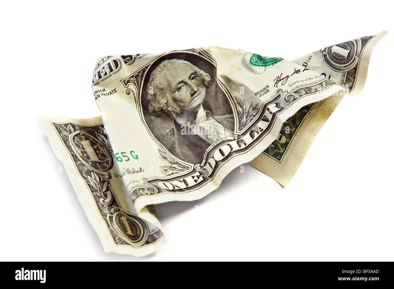 One wrinkled dollar isolated on white - Stock Image