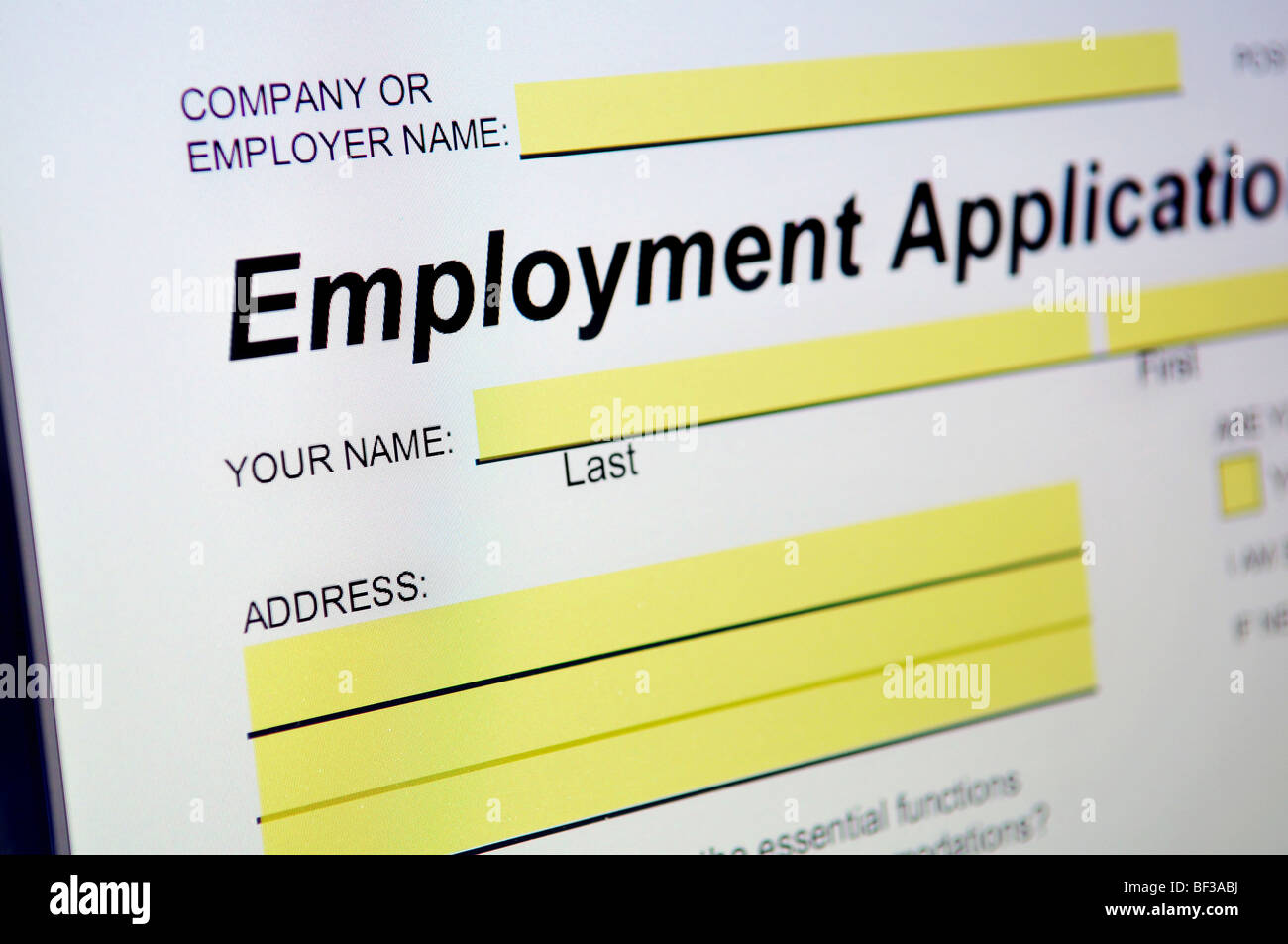 Employment Application on computer screen - Stock Image