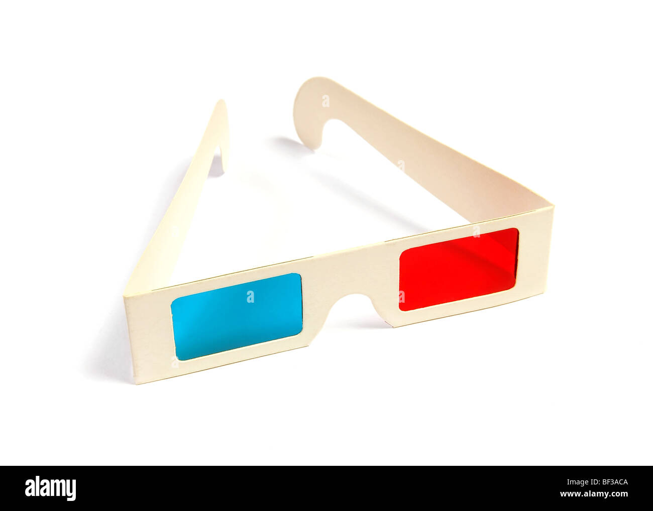 Cinema stereo glasses with blue and red eyes isolated on white - Stock Image