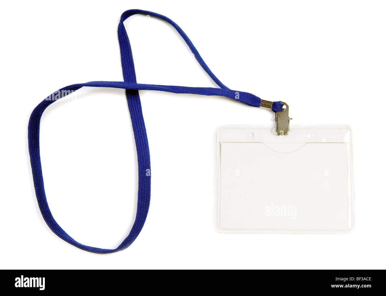 blank business badge with rope isolated on white - Stock Image