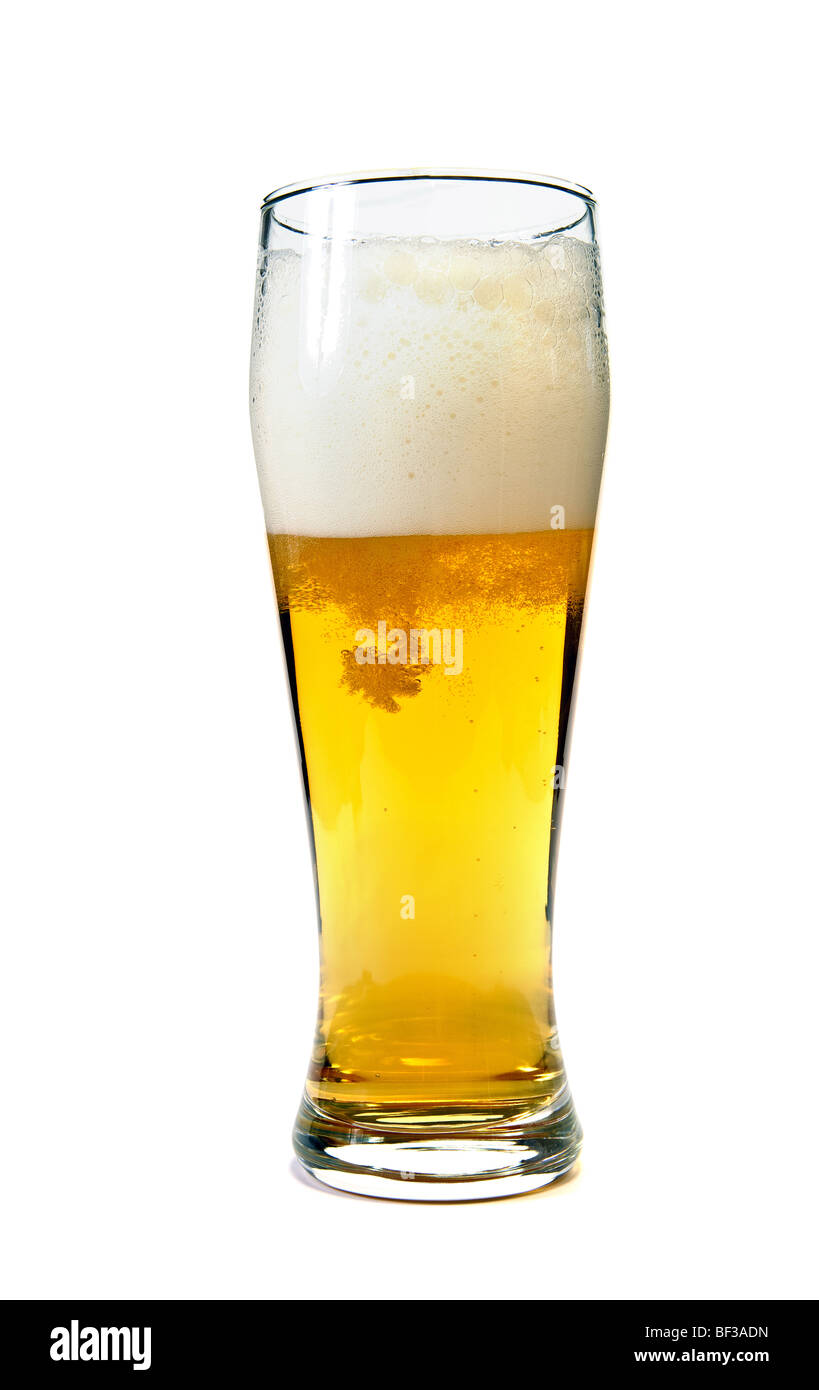 Glass of beer closeup on white background - Stock Image