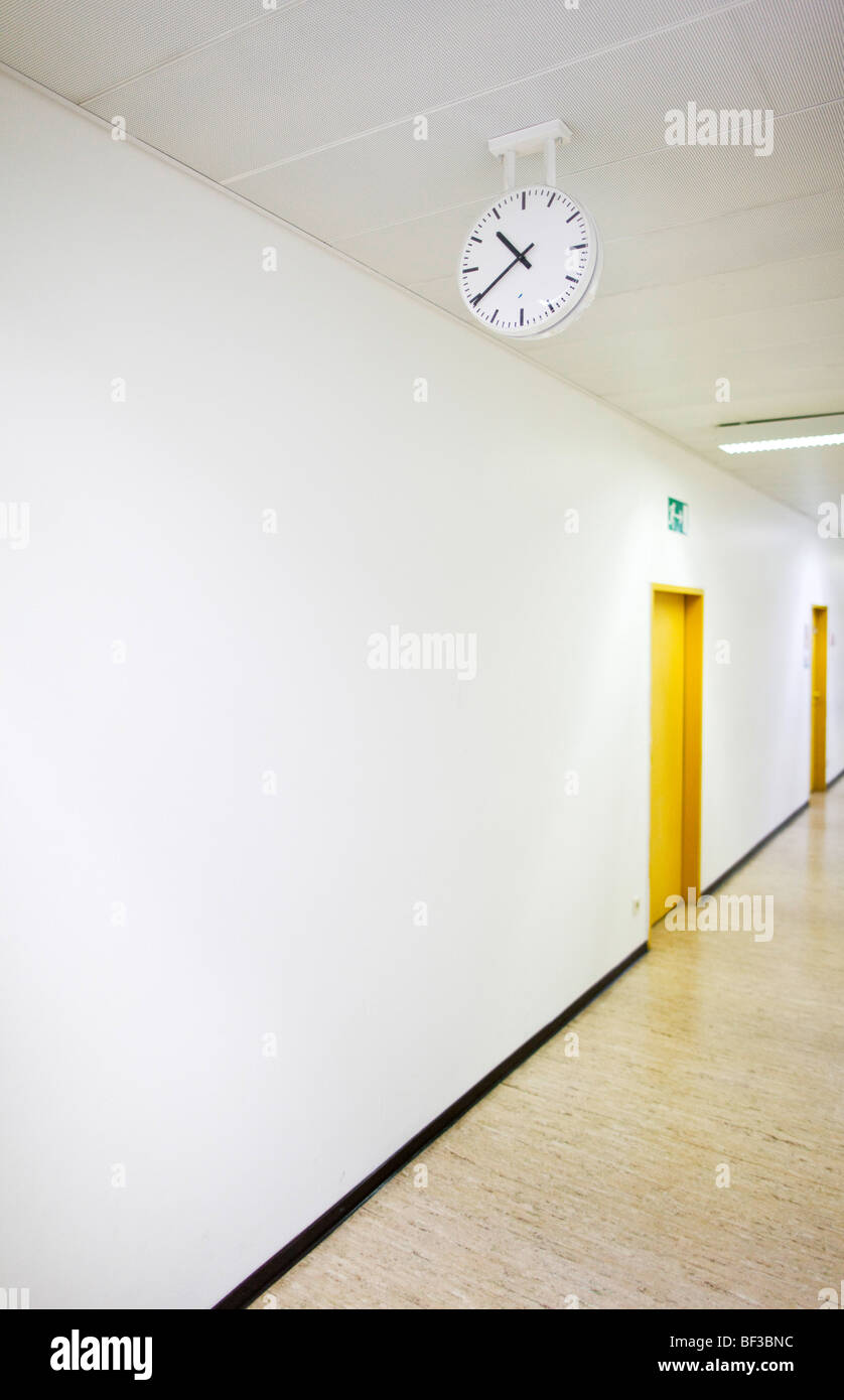 Empty corridor in a school Stock Photo