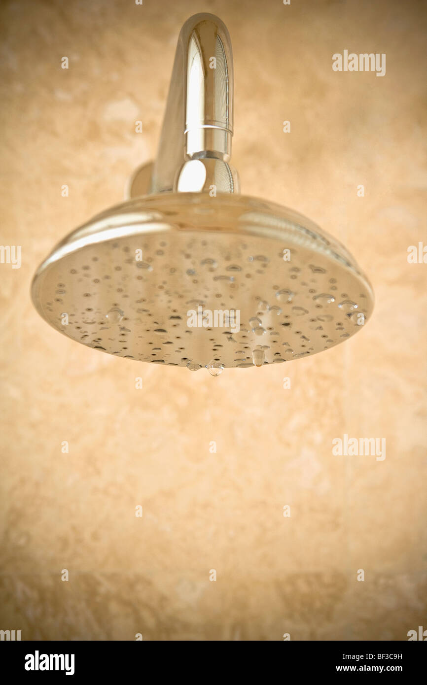Close-up of a shower head with dripping water - Stock Image