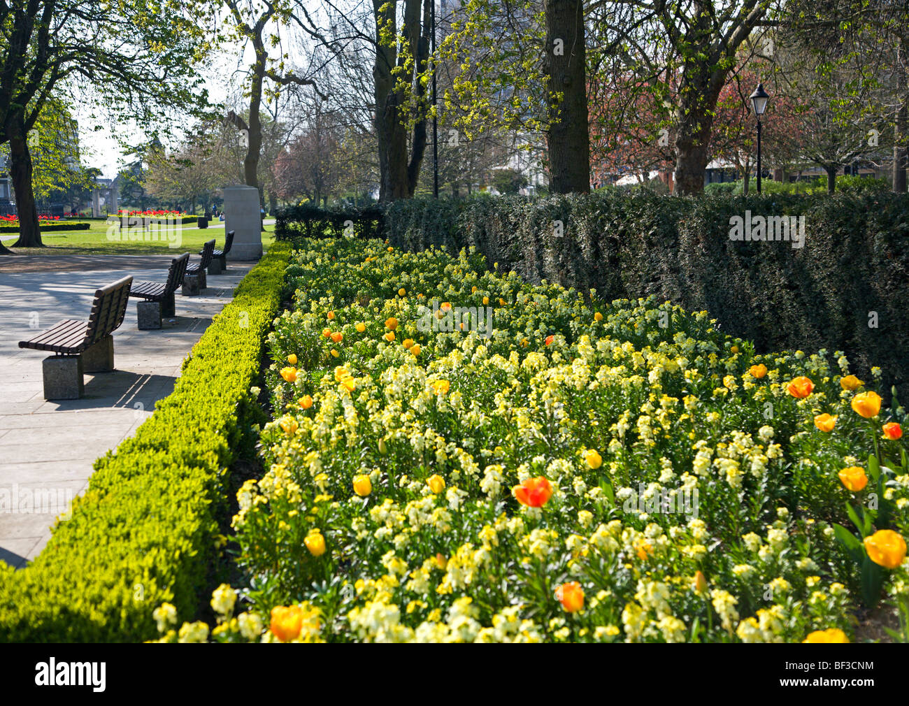 Spring Flowers In Watts Park Southampton Hampshire England Stock