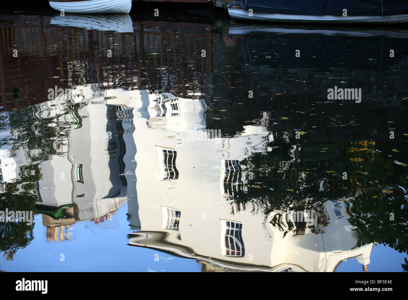House reflected Regents canal London - Stock Image