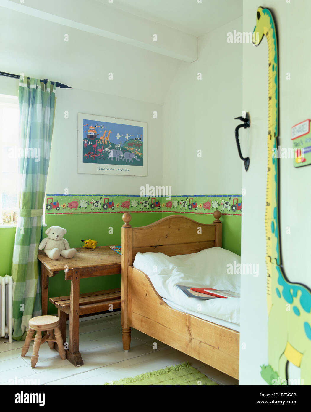 green bedroom pine furniture. Green Wallpaper Border And Dado On Wall Above Pine Bed In Child\u0027s Bedroom With Small Wooden Desk Furniture L