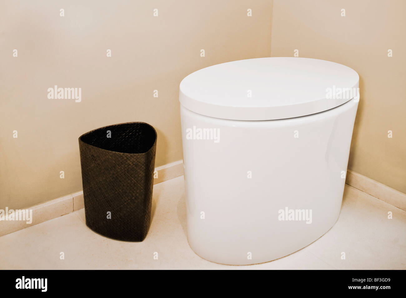 Toilet bowl and wastepaper basket in the bathroom - Stock Image
