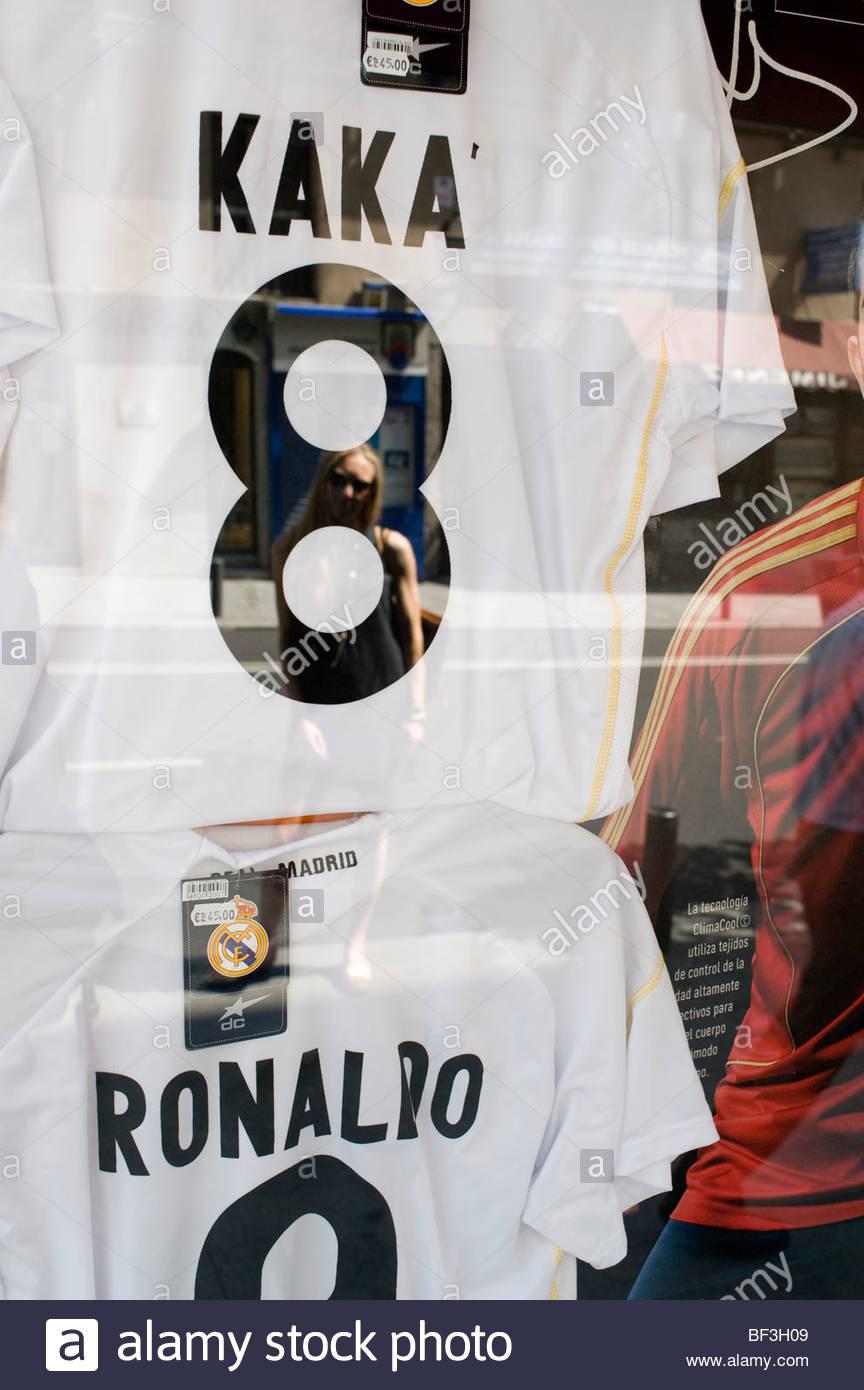 b98104c78 Madrid shop window with Real Madrid football team shirts of the player Kaka  - Stock Image