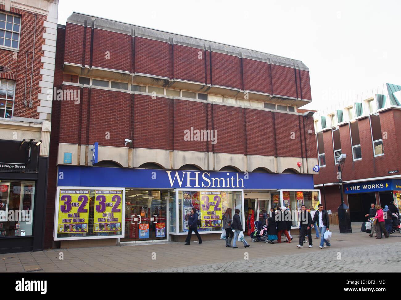 WH Smith shop in Bridge Street, Peterborough, Cambridgeshire - Stock Image