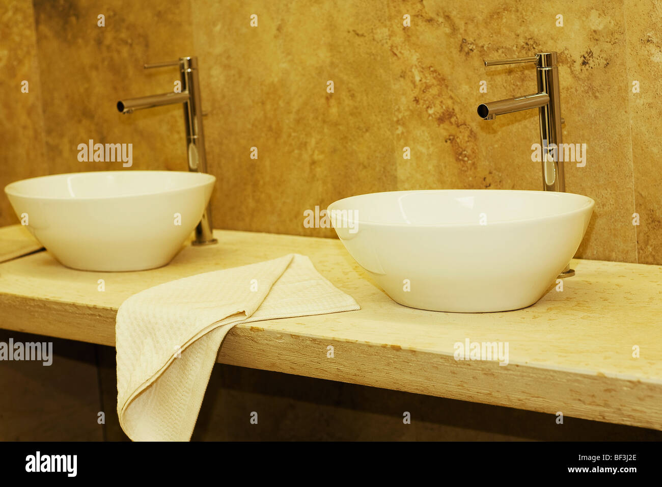 Wash bowls in the bathroom - Stock Image