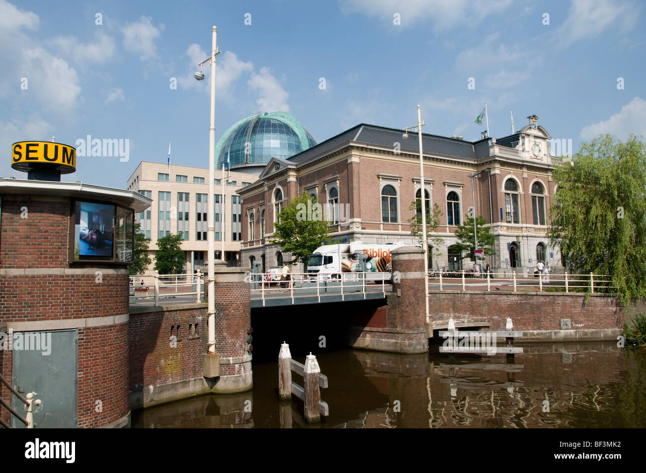 Leeuwarden city  Netherlands Friesland Fryslan old center ( left Achmea tower - Willemskade - Libary and Fries Museum - Stock Image