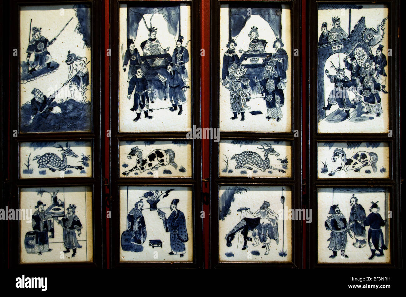 Eight folded screen prcelain 19 C  China Chinese - Stock Image